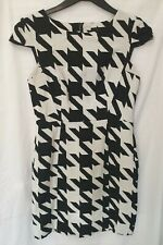 Next, Women's Black and White Print Straight Fitted Short Dress, Size 10