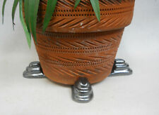 "POT FEET Ceramic Flower Planter Risers ""Tier"" Design Metallic Silver set of 4"