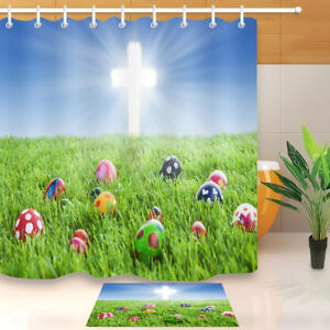 """Green Grass Colorful Easter Eggs Bright Cross Fabric Shower Curtain Set 72x72"""""""
