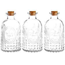 Set of 3 Antique-Style Clear Glass Embossed Apothecary Bottles with Cork Lids