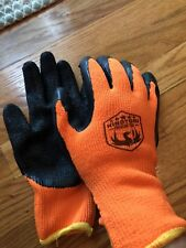 Hinotori Premium Tire Polyurethane Coated Nylon Work Gloves, Orange Black Large