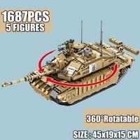 1687PCS Military Challenger 2 Main Battle Tank Building Blocks Set WW2 Army Kit