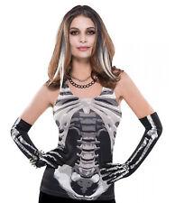Ladies Skeleton Vest Top Womens Halloween Fancy Dress Size 10-12 NEW