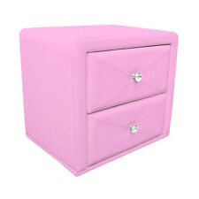 Pink Kids Room Girls PU Leather Upholsted 2 Drawers Bedside Table Bedside