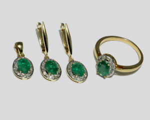 Real Emerald Stone 14K Yellow Gold Ring, Earrings & Pendant Wedding Jewelry Set