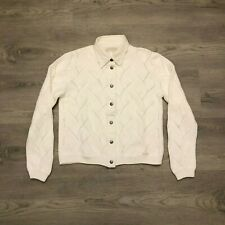 Blue Willi's Womens White Knit Cotton Sweater Jacket Metal Snap Buttons Size M