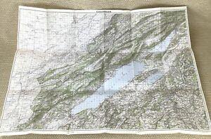 1949 Vintage Map of Switzerland Colombier Biel Fribourg Neuchatel Pontarlier