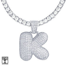 """Iced Bubble Letter K Initial Silver Plated Pendant 24"""" Tennis Chain Necklace"""