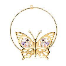 Swarovski Crystal Elements Studded Butterfly Figurine Ornament 24K Gold Plated