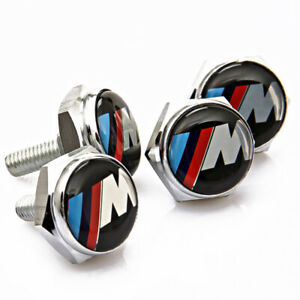 4PCS Car Metal License Plate Frame Screw Bolt Cap Covers Nuts For BMW M Logo