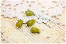 10pz pendente goccia pietra olive per orecchini e collane con gancio argentato