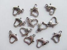 10pz moschettoni a cuore colore argento tibet 14x9mm bijoux