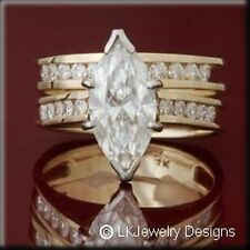 3.50 CT MOISSANITE MARQUISE & ROUND  FOREVER ONE GHI SET RING