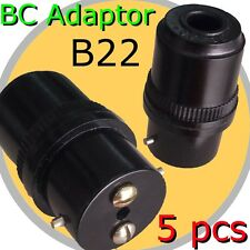 5x BC Adaptor B22 bulb Lamp Holder connector DIY Light Fitting Accessory BLACK