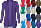 Boyfriend Open Cardigan Tops Drop Pocket Long Sleeves Casual 8-14 Womens Ladies