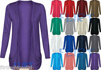 Drop Pocket Boyfriend Cardigan Tops Long Sleeves Open Casual 8-14 Womens Ladies