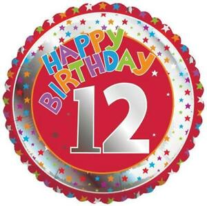 Age 12/12th Red Happy Birthday 18 Inch Foil Balloon