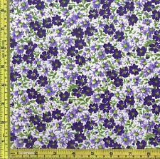 Purple Dahlia Flower Patch 100% Cotton Calico Fabric 1/4 yard 22.5 cm off bolt