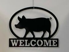 "Pig Welcome Metal Sign 16"" X 13"" Farm Home Decor"
