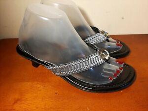 Lindsay Phillips Switch Flops Womens Thong Sandals Shoes 8 Kitten Heels EUC