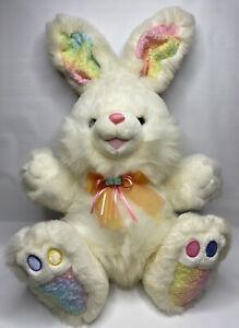 """Dan Dee Hoppy Hopster Easter Bunny Rabbit Plush White Rainbow Feet Ears 24"""""""