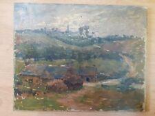 Peinture école bretonne paysage village finistère anonyme