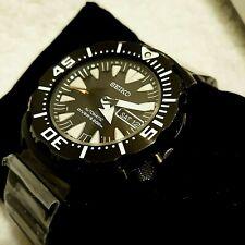 Seiko Men's Custom Mod Black Monster 200 Meter, Automatic, Black bracelet, Diver