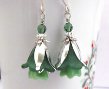 FLOWER Earrings ~ HOLIDAY GREEN Lucite TRUMPET LILY DANGLE STERLING SILVER 925