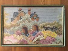Antique Arts & Crafts Embroidered Needlework Picture English Garden Cottage