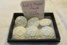 LOT8 6 Glass Early 20th C Metal Shank Buttons 2.2 cm dia  PEARLISED WHITE FLOWER