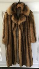 Genuine TANUKI Natural Raccoon Brown, Golden Fur Mid-Length Coat; SZ Small (4-8)