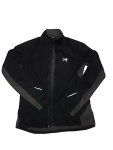 ARC'TERYX Mens Windstopper Soft Shell Black Grey Zip Up Large READ CONDITIONS