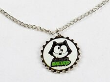 Felix The Cat Necklace, Silver Tone Bottle Cap Pendant ~ OK So I'm Weird YNC1166