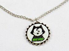 Felix The Cat Necklace, Silver Tone Bottle Cap Pendant ~ OK So I'm Weird YNC1166