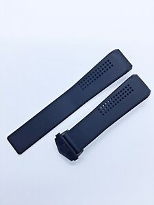 Rubber Silicone Strap/Band fit Tag Heuer Carrera Watch Black 22mm Black Clasp