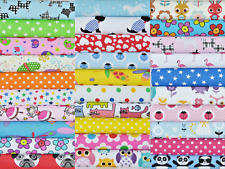 50 X 5 INCH PATCHWORK FABRIC SQUARES SAMPLES SEWING CRAFT CHILDRENS POLY COTTON