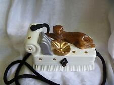 TIMMY WOODS Beverly Hills Jaguar Cat laying on Lounge with Gold Basin Signed