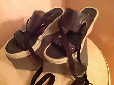 Nine West Chocolate Brown Wedge Sandals/Shoes Size UK 7/US 9 BNWOT BOXED