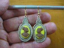 CAE1-19) RARE African American LADY brown + yellow CAMEO dangle Earrings JEWELRY