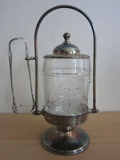 Antique Triple Plate Middletown Silverplate Pickle Castor Jar w/ Tongs