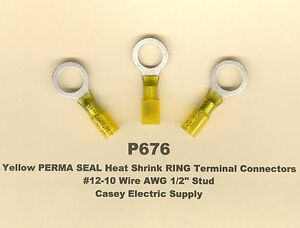 """20 Yellow PERMA SEAL Heat Shrink RING Terminal Connectors #12-10 Wire 1/2"""" MOLEX"""