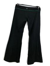 b51f85caa Lululemon Yoga Pants Womens Size 6 Black Green Flare Fitness Gear Take It  Easy