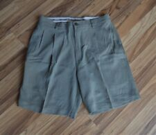 Tommy Bahama Relax 100% Silk Shorts Pleated Front Mens Sz 32 Light Olive Green