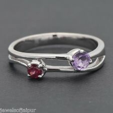 Adorable Amethyst Garnet 925 Sterling Silver Two-stone Ring Womens Jewelry UK