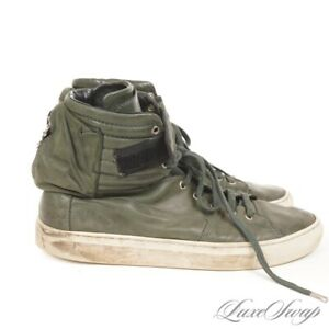 Raf Simons Made in Italy H6902 Green Leather Astronaut Pocket High Sneakers 44