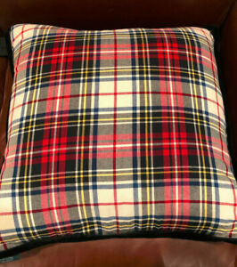 "S/2 Ralph Lauren TARTAN PLAID Ivory, Red, Blue & Black  20"" Throw Pillows--NWT"