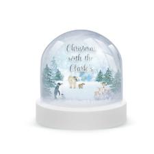 Personalised Christmas Glitter Snow Globe Penguin, Polar Bear, Deer