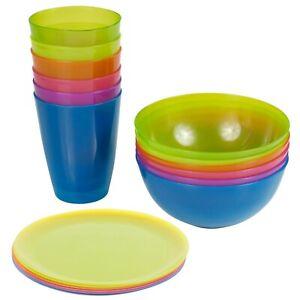 Kids 18 Pcs Colourful Reusable Plastic Bowls Plates & Cups Set Tableware Dinner