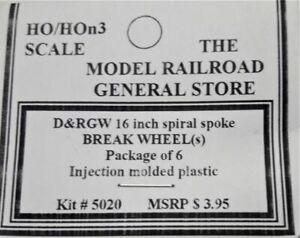 "HO HOn3 MRGS-5020 D&RGW 16"" Spiral Break Wheels Pack of 6 Plastic detail parts"