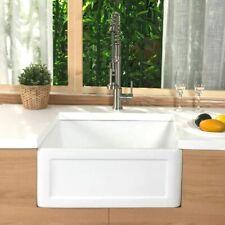 24 inch White FireClay Farmhouse Kitchen Sink - Reversible Apron